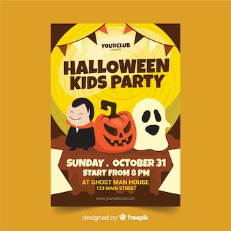 Cute cartoon halloween characters flyer template