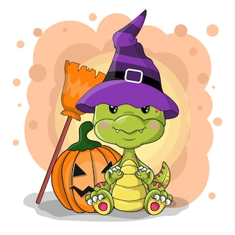 Cute cartoon halloween dinosaur on a white background
