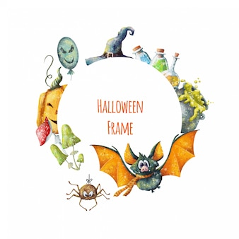 Cute cartoon halloween frame