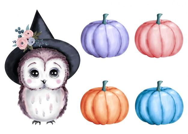 Cute cartoon halloween owl in a wizard hat with pumpkins set