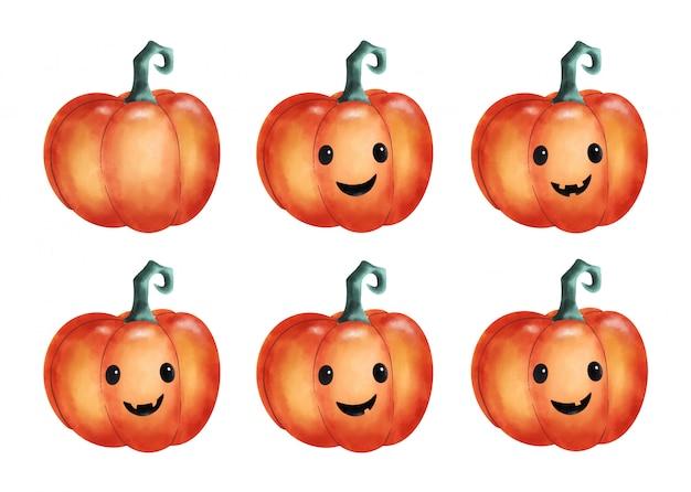 Cute cartoon halloween pumpkins with funny faces set