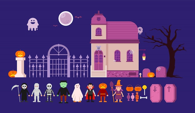 Cute cartoon halloween set