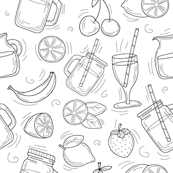 Cute cartoon hand drawn background of summer cocktails and lemonade