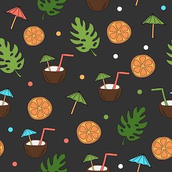 귀여운 만화 손으로 그린 낙서 스타일 코코넛 칵테일 음료 - 열대 인쇄