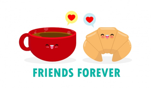 Cute cartoon happy cute cup of coffee and croissant, happy breakfast funny characters best friends concept food and drink with friends forever isolated on white background  illustration