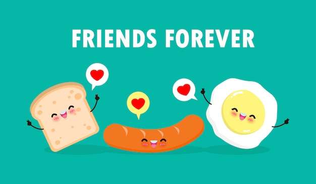 Cute cartoon happy egg, sausage, toast, breakfast funny characters best friends concept food and drink with friends forever poster isolated on white background  illustration in flat style