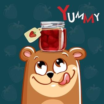 Милый мультфильм счастливый весело медведь с клубничным вареньем. открытка, открытка. вкуснятина