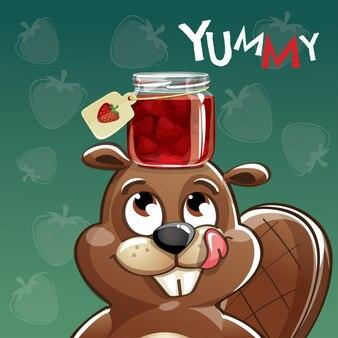 Милый мультфильм счастливый весело бобра с клубничным вареньем. открытка, открытка. вкуснятина