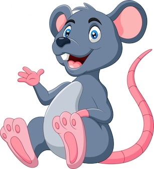Cute cartoon happy mouse illustration