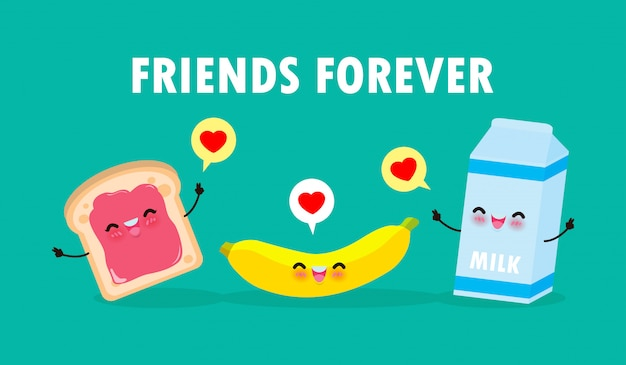 Cute cartoon happy toast and milk with banana, breakfast funny characters best friends concept food and drink with friends forever poster isolated on white background  illustration in flat style