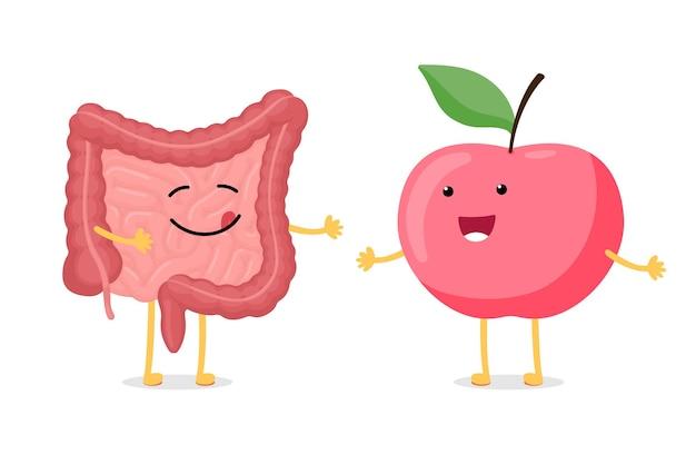 Симпатичный мультяшный здоровый кишечник и красный смайлик яблочный персонаж брюшной полости пищеварительной и