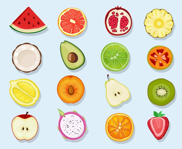 Cute cartoon healthy vegan natural products plants food orange lemon apple clipart set.
