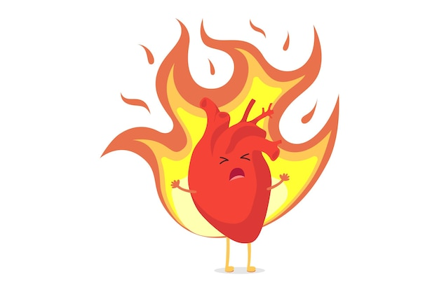 Cute cartoon heart character burning with passion love and suffering from unrequited feelings. human internal organ in flame. conceptual romantic symbol vector illustration