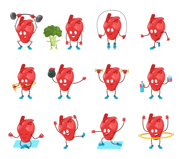 Cute cartoon heart organ  illustration, happy hearty character in healthy sport activity, yoga exercise icons isolated on white