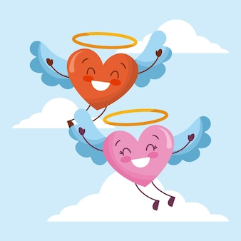 Cute cartoon hearts love flyng wings in the sky