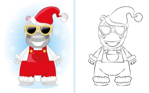 サンタの帽子と赤いオーバーオールのかわいい漫画のカバの少年。子供の塗り絵のイラスト。