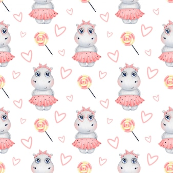 Cute cartoon hippo girl in a pink skirt with candies and hearts seamless pattern