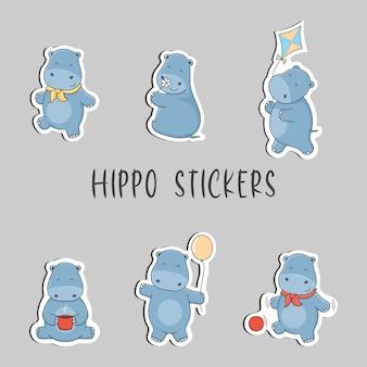 Cute cartoon hippo stickers.