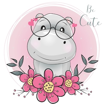 Cute cartoon hippo with flowers with pink background
