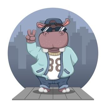 Милый мультяшный бегемот в костюме в стиле хип-хоп