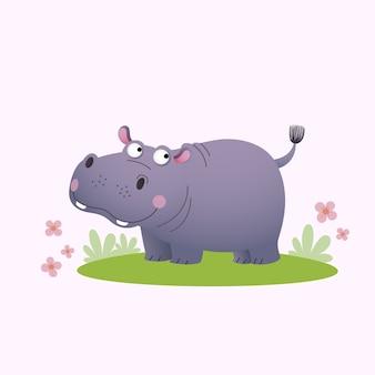 Милый мультяшный бегемот на зеленой траве.