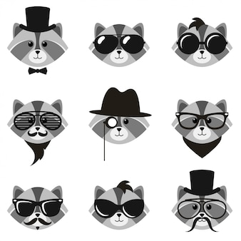 Cute cartoon hipster raccoons with mustaches and sunglasses