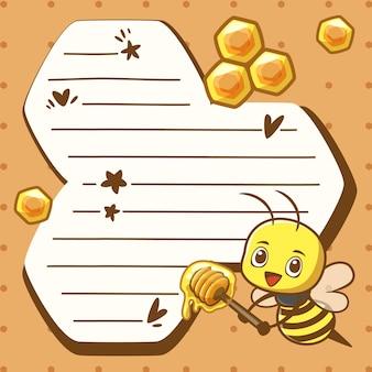 かわいい漫画ミツバチとメモ