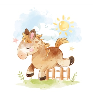 Cute cartoon horse jumps across fence illustration