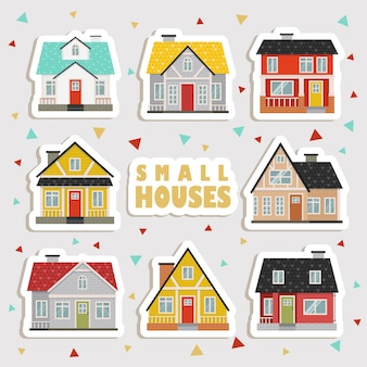 Cute cartoon houses stickers. collection of cute house, shop, store, cafe and restaurant isolated on white background