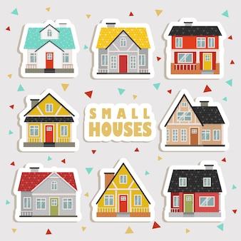 귀여운 만화 집 스티커. 귀여운 집, 상점, 상점, 카페 및 레스토랑 흰색 배경에 고립의 컬렉션
