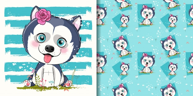 Cute cartoon husky puppy illustration for kids