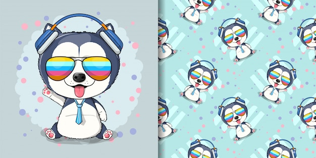 Cute cartoon husky puppy illustration for kids