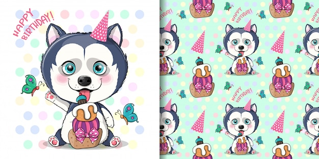 Cute cartoon husky puppy with birthday cake