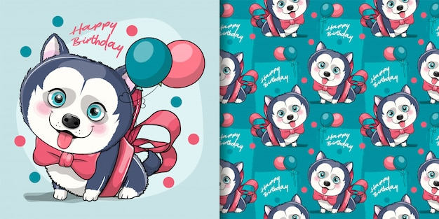Cute cartoon husky puppy with ribbon and balloons