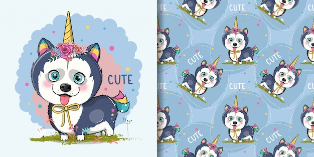 Cute cartoon husky puppy with unicorn custom