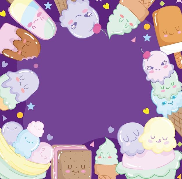 귀여운 만화 아이스크림