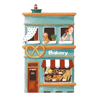 Cute cartoon illustration of bakery shop