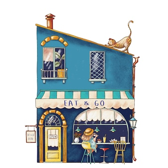 Cute cartoon illustration of bistro house