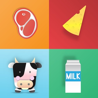 Cute cartoon illustration of a cow and products we gain from her in paper art 3d layer style