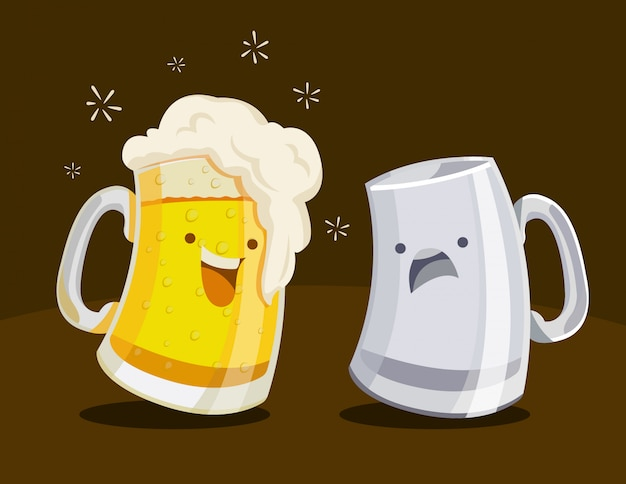 Cute cartoon  illustration of a full, overflowing and empty beer mugs