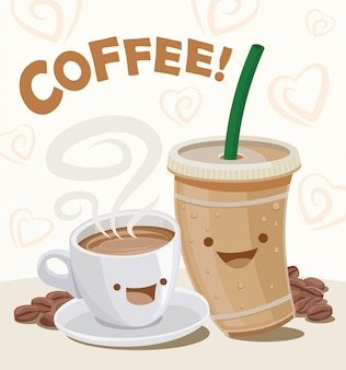 Cute cartoon  illustration of a hot and iced coffee