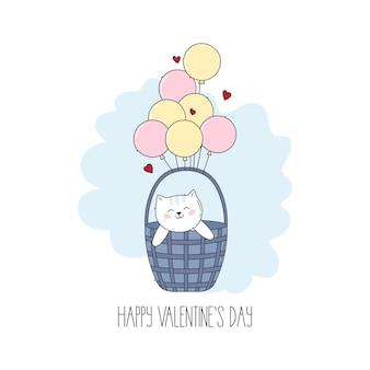 Милый котенок иллюстрации шаржа с красными сердцами и воздушными шарами на день святого валентина