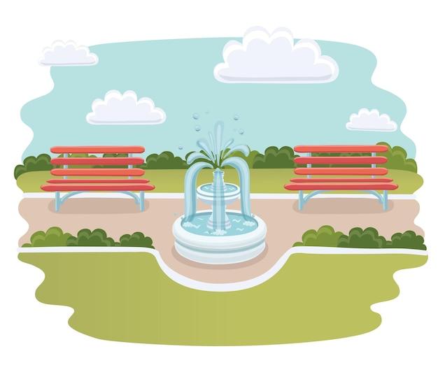 공원에서 분수의 귀여운 만화 그림