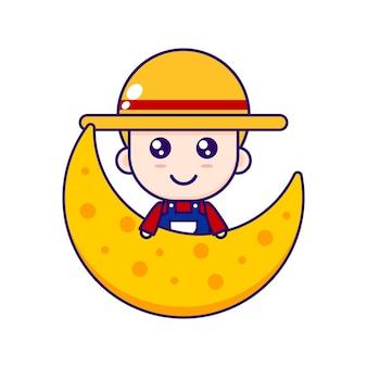 ちび農家ベクトルデザインのかわいい漫画イラスト