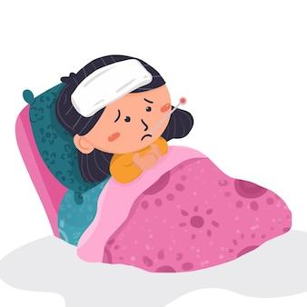 침대에 열이 있는 아이의 귀여운 만화 그림