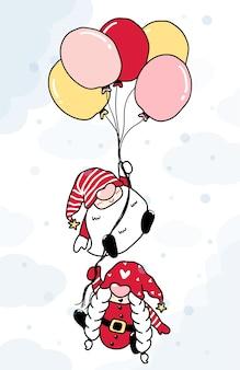 Симпатичные иллюстрации шаржа два гнома держат воздушный шар на небе в снегу