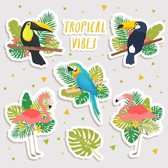 Cute cartoon illustrations of parrot, flamingos and toucans with tropical leaves stickers. cute stickers, patches or pins collection