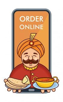 카레, roti 및 samosa 휴대 전화에서 나오는 봉사하는 귀여운 만화 인도 요리사, 그림