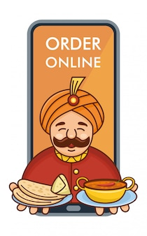 Cute cartoon indian chef serving curry, roti and  samosa coming out of mobile phone,  illustration