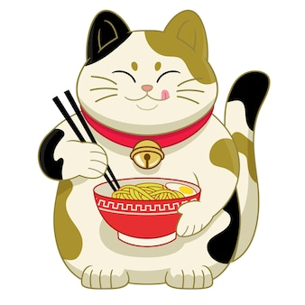 Cute cartoon japan's cat eating ramen noodle